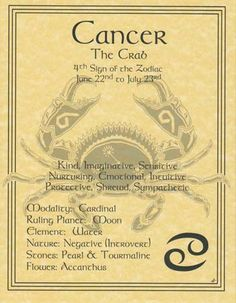 A wonderful reference, the cancer poster explores the qualities of the 4th sign of the zodiac. Hang it by your altar or keep it on hand to refer seeking to better understand how the influences of the