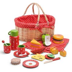 This lovely 20 piece toy picnic set consists of a wicker basket with red lining, and contains a thermos, table cloth, cutlery and wooden toy food. Wooden Toy Kitchen, Wooden Food, Little Girl Toys, Toys For Girls, Toddler Toys, Kids Toys, Toy Kitchen Accessories, Picknick Set, Picnic Basket Set
