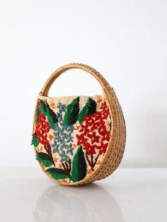 SALE vintage 60s bag / embroidered basket bag
