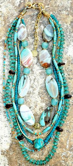 "thestylishgypsy: "" Gorgeous aquamarine sea glass necklace Custom Sea Glass Necklace) """