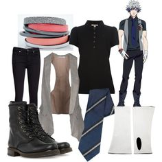 Ranmaru Kurosaki by theearlmustang on Polyvore featuring moda, Gold Case, Burberry, 7 For All Mankind, Frye, Jane Carr and Tiffany & Co.