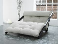 Figo 120x200 Wenge with flax mattress and neck cushion. By Karup Partners / Futon Shop.