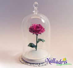 Inspired by Beauty and the Beast, is this little rose adorned with tiny Swarovski crystals to make it sparkle. Total height about Beads Making, How To Make Beads, Little Rose, Beauty And The Beast, Minis, Swarovski Crystals, Christmas Bulbs, Sparkle, Inspired