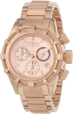 #Invicta #Watch , Invicta Women's 12460 Bolt Reserve Chronograph Rose Tone Dial 18k Rose Gold Ion-Plated Stainless Steel Watch