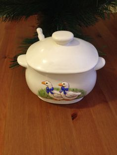 Ceramic Gravy Bowl Decorated with Geese with Lid and Spoon Handmade Ceramic Vintage Cottage Chic Home Decor by SageandDeesVintage #TrendingEtsy