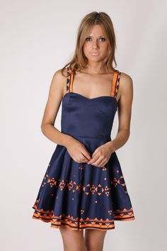 ivy navy cocktail dress - coral print detail