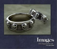 These matching platinum skull wedding bands were for a couple with a love for skeletons. A truly unique and cool set of bands. #imagesjewelers #customjewelry #weddingring #mensring #skull #skullring