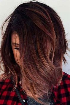hair color: dark reddish brown with rose gold ombre #OmbreHairColorForBrunettes #brunettebalayagehair