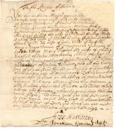 """A summons to appear in one of the Salem witch trials. These documents appear in my book, """"Pure Lies. Wiccan, Witchcraft, Isabel I, Witch History, Salem Witch Trials, Vintage Witch, Interesting History, Vintage Ephemera, In Writing"""