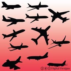 12 Airplane Silhouette Digital Clipart Images by OMGDIGITALDESIGNS