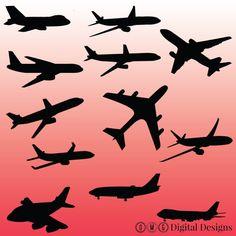 12 Airplane Silhouette Digital Clipart Images by OMGDIGITALDESIGNS