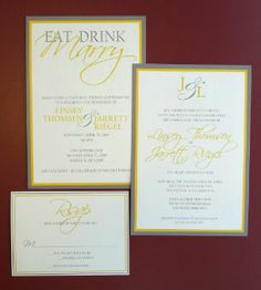 Wedding invitation with separate reception invite in yellow and grey on diamond paper.