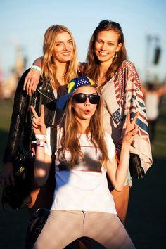 Lily Donaldson, Karlie Kloss & Cara Delevingne at Coachella