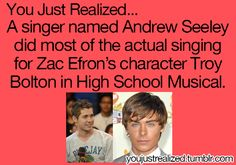 Zack Efron in High School Music didn't sing his own songs. Drew Seely did. Also Drew Seely is the guy from another Cinderella story Childhood Ruined, Right In The Childhood, Disney Facts, Disney Memes, Drew Seeley, Another Cinderella Story, You Just Realized, What Team, Movie Facts