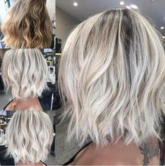 """Hair By Nikki O en Instagram: """"Transformation Tuesday ✔️✔️ From brassy unruley over grown hair to icy white with a fresh and edgy #lob cut  #behindthechair #hairbynikkio…"""""""