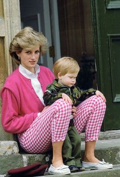 July 1986 ~ Prince Harry is with his mummy, HRH Diana, Princess of Wales, at Highgrove.