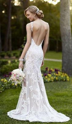 Lace over Lustre Satin V neck wedding dress