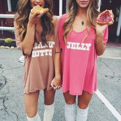 20 Couples Halloween Costumes To Try With Your BFF - butter and jelly halloween costume for you and your bff!bff halloween costumes 31 Greatest DIY H . Cute Couples Costumes, Couples Halloween, Best Friend Halloween Costumes, Hallowen Costume, Halloween Outfits, Halloween Ideas, Partner Costumes, Halloween Recipe, Women Halloween