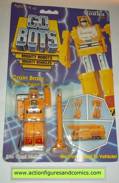 vintage Tonka / Ban-Dai toys action figures GO BOTS / MACHINE ROBO 1984 CRAIN BRAIN (crane) new - still factory sealed in the original package condition: displays nicely as showcased in photo. bubble
