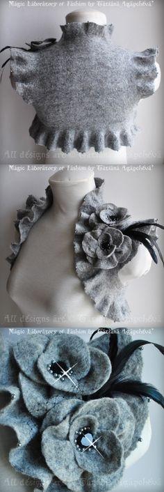 Bolero Shrug Jacket REFLECTION Of Glamour Bridal HAND Felted in Grey, Detachable Double Flowers Corsage US Size 6 / UKSize. $198.00, via Etsy.