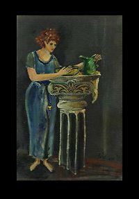 A Lady at the wash basin = Original OIL PAINTING = Cathy Peterson IMPRESSIONIST #moderncontemporaryartinterpretiveimpressionist