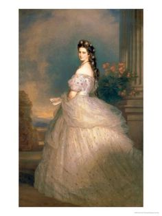 """Portrait of Empress Elisabeth of Austria, or Princess Sissi as she is better known thanks to Romy Schneider's movies. """"Elisabeth with diamond stars in her hair"""" (oil on canvas) 1865 Franz Xaver Winterhalter Franz Xaver Winterhalter, Victorian Era, Victorian Fashion, Vintage Fashion, Empress Sissi, Kunsthistorisches Museum Wien, Gala Dresses, Historical Clothing, Historical Women"""