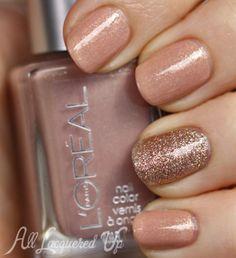 Mani Monday Manicure using China Glaze Champagne Kisses and L'Oreal So Chic nail polish