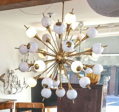 Very Large Sputnik Style Murano and Brass Fixture | From a unique collection of antique and modern chandeliers and pendants  at https://www.1stdibs.com/furniture/lighting/chandeliers-pendant-lights/