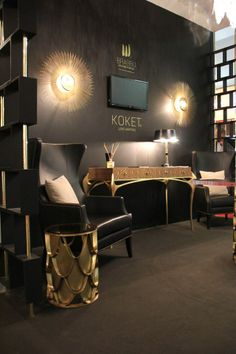 By Koket and BRABBU partnership at iSaloni 2014 - Hall 14 with Koi Side Table, Journey armchair, Temptation Console — in Milan, Italy Gold Furniture, Deco Furniture, Furniture Styles, Furniture Design, Luxury Interior Design, Interior Design Inspiration, Interior And Exterior, Interior Ideas, Dark Interiors