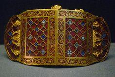 Sutton Hoo Ship Burial, shoulder clasp (closed), c. 700