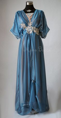 Edwardian blue dress handmade in England Lady Mary by MonaBocca