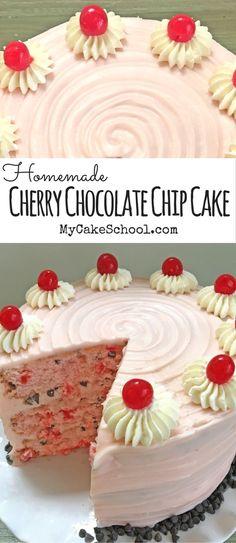 Cherry Chocolate Chip Cake Recipe by MyCakeSchool.com