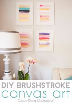 DIY brushstroke canvas art by Cuckoo4Design. Brought to you by NBC's American Dream Builders, Hosted by Nate Berkus