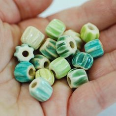 Mermaid Palette Handmade Ceramic Chevron Bead Sets (8 Pairs) by MarshaNealStudio. Beautiful Teal Blue and Green colors!
