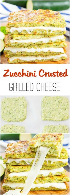 Zucchini Crusted Grilled Cheese Sandwiches. Less carbs and healthier than regular grilled cheese.  Try using crushed pork rinds in place of the flour to make low carb.