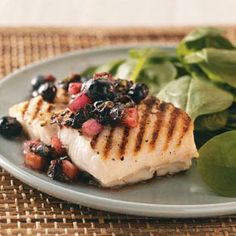 Grilled Halibut with Blueberry Salsa (just use juice from an actual orange and not store bought orange juice)