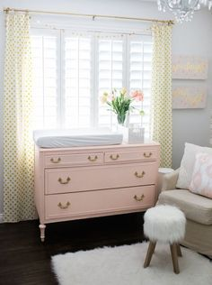 The Posh Home Baby Girl Nursery Reveal Pink and Gold Nursery Design – love this pink dresser/changing table paired with pops of gold and lots of textures! Interiores Shabby Chic, Muebles Shabby Chic, Gold Nursery, Nursery Room, Yellow And Pink Nursery, Nursery Furniture, Baby Bedroom, Girls Bedroom, Room Baby