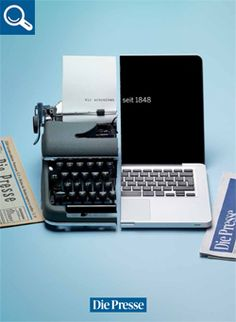 Die Presse: Tablet, Laptop---We write since 1848 Ads Creative, Creative Advertising, Advertising Agency, Mac Book, Guerilla Marketing, Business Marketing, Good Advertisements, Meaningful Pictures, Madara Uchiha