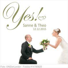 Wandtattoo Hochzeit Yes mit Vornamen und Datum 06