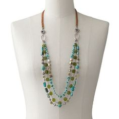 SONOMA life + style Silver Tone Simulated Turquoise Bead Long Swag Necklace