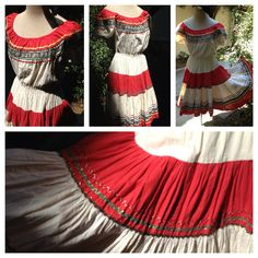 Vintage Red Hot Pepper Squaw western Rockabilly dress Ric rac skirt m-L Cowgirl Look, Cowgirl Chic, Circle Dress, Full Circle Skirts, Unique Dresses, Vintage Dresses, Fiesta Dress, Festival Dress, Western Dresses