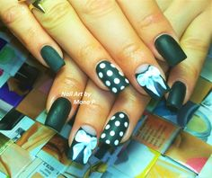 Black and white matte nail art