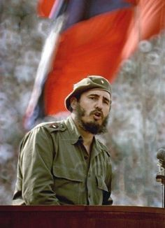 Fidel Castro at a rally in Moscow, 1963.