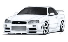 Nissan Skyline GT-R Drawing by Vertualissimo.dev… on Nissan Skyline GT-R Drawing by Vertualissimo. Nissan Skyline Gtr R32, Nissan Gtr R34, R34 Gtr, Gtr Drawing, Gtr Car, Cool Car Drawings, Japanese Cars, Bmw, Dodge Charger