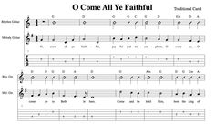 Easy Holiday Songs For Guitar • Oh Come All Ye Faithful • Chords, Melody, Tab, Strumming Pattern - News - Bubblews