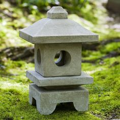 Small Square Japanese Lantern Sculpture - Green Patina