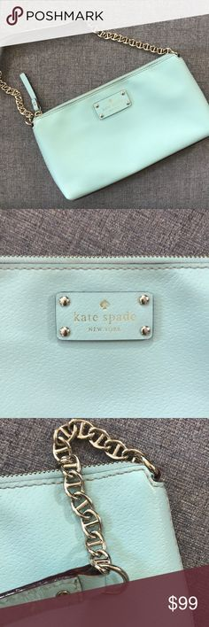 "[Kate Spade] Chain link shoulder bag Kate Spade  Good used condition  Pretty teal / baby light blue  Bag 11x6""  Bag to strap is 8""  Some minimal signs of wear outside  Some fading of exterior logo as shown  Some minor stains on the inside shown in photo  Open to all offers kate spade Bags Shoulder Bags"
