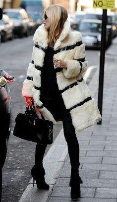 Kate Moss in black & ivory white striped furry coat