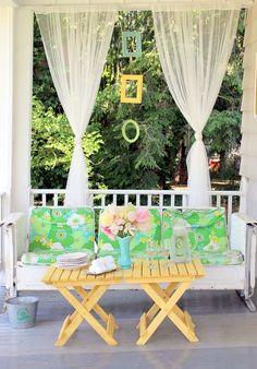 linda varanda decorada cortina de voil