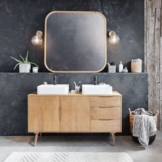 Very much on-trend, the TROCADERO Solid Mango Wood Double Sink Bathroom Vanity will create a modern, welcoming ambiance. Composed of a solid mango woo Diy Bathroom Decor, Bathroom Interior Design, Bathroom Furniture, Antique Furniture, Bathroom Sink Units, Double Sink Bathroom, Double Sinks, Simple Bathroom, Modern Bathroom